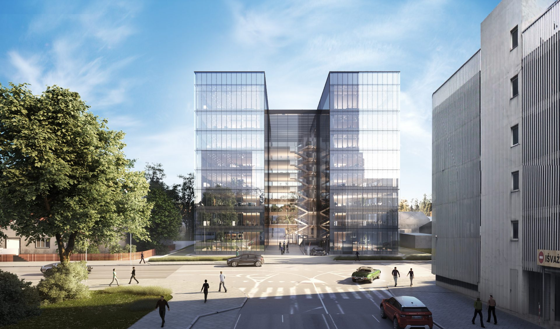 New business center construction in Lvovo str. 37, Vilnius