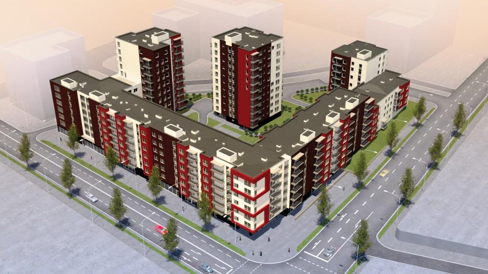 """Three-piece 4 to 7 storey apartment houses' """"Kauno-Algirdo kvartalas"""" monolith frame installation works"""