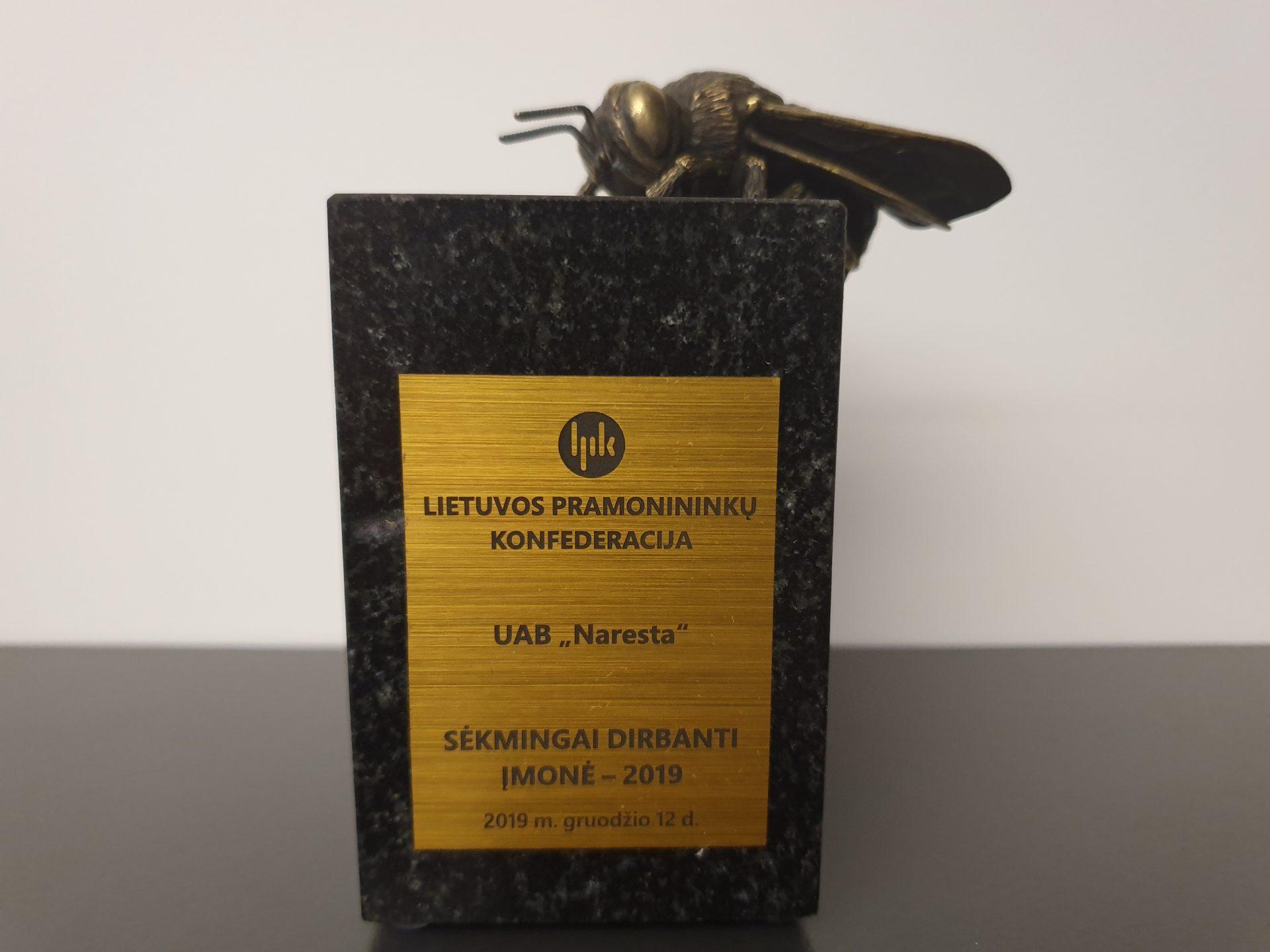 """UAB """"Naresta"""" skirtas """"Sėkmingai dirbančios įmonės"""" apdovanojimas"""